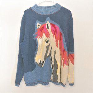 CJ Banks Colorful Horse Art Mock Neck Plus Sweater